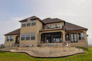 European Style House Plan - 4 Beds 4 Baths 4050 Sq/Ft Plan #80-160 Exterior - Rear Elevation