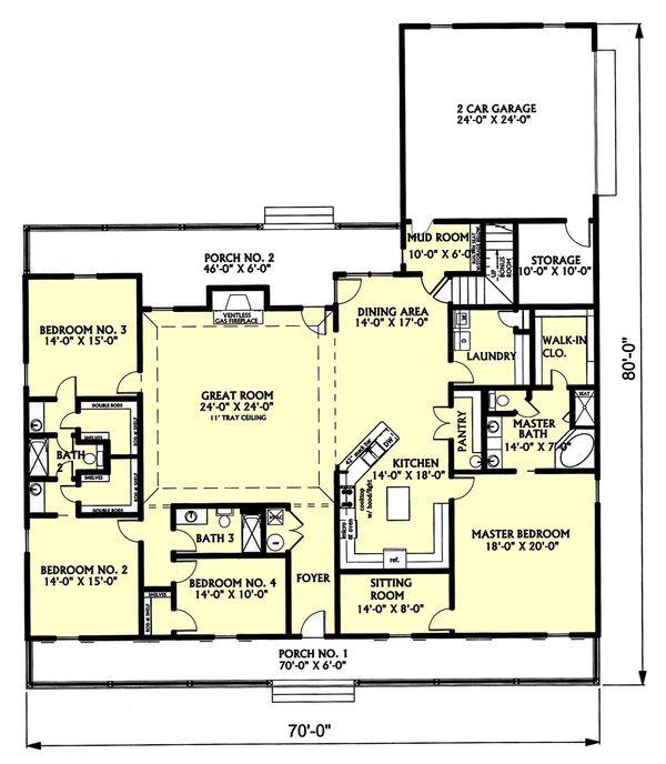 Country Floor Plan - Main Floor Plan #44-129
