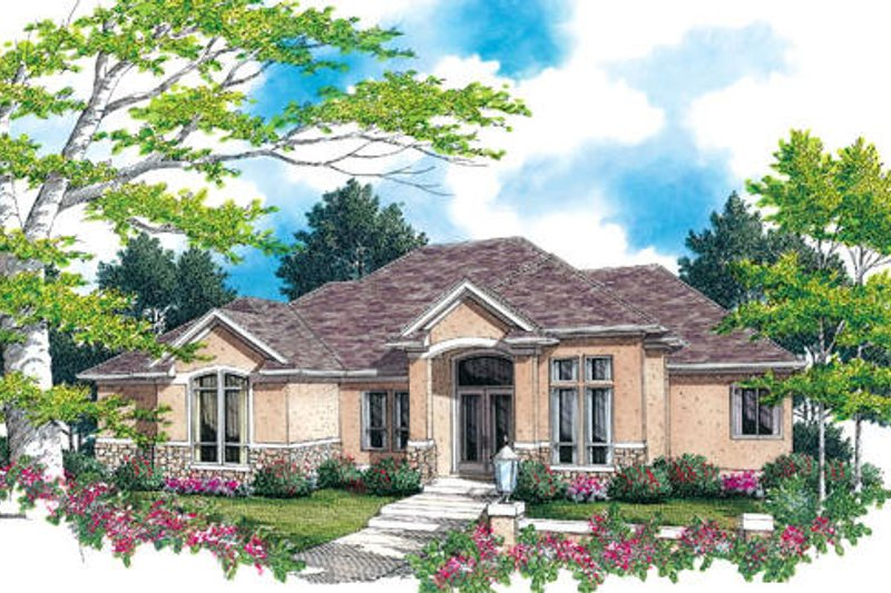 Mediterranean Exterior - Front Elevation Plan #48-425