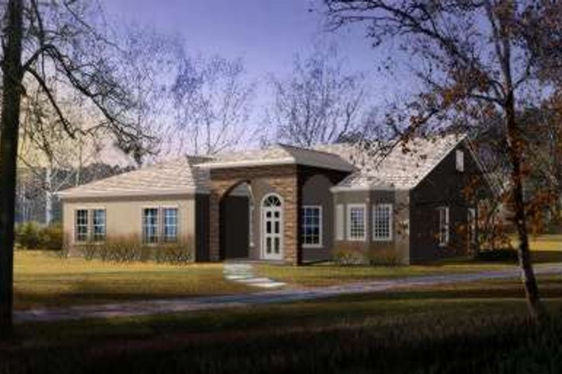Adobe / Southwestern Style House Plan - 3 Beds 2 Baths 1873 Sq/Ft Plan #1-396 Exterior - Front Elevation