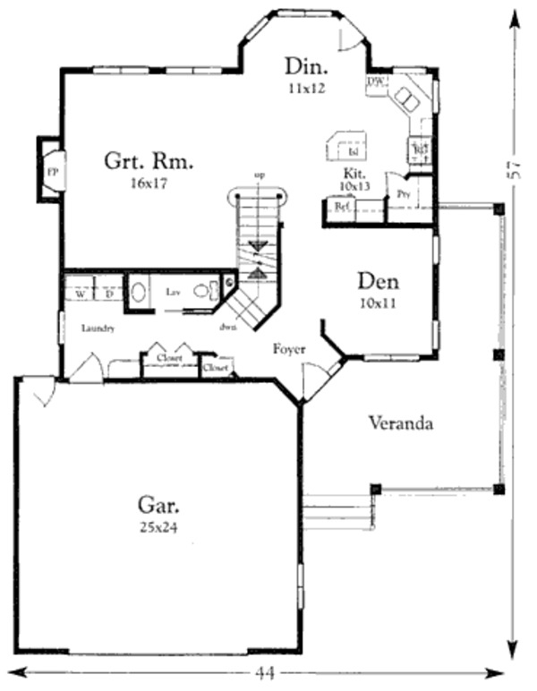 Traditional Floor Plan - Main Floor Plan Plan #409-1114