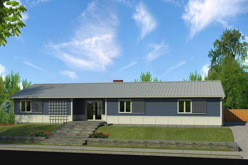 House Blueprint - Ranch Exterior - Front Elevation Plan #497-50