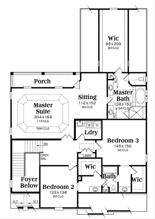 European Floor Plan - Upper Floor Plan Plan #419-248