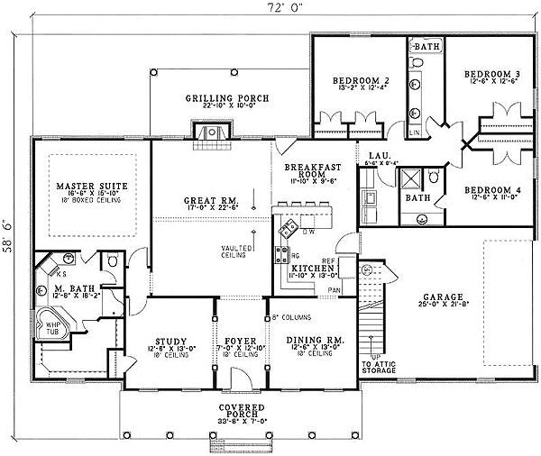 Traditional Floor Plan - Main Floor Plan Plan #17-1176