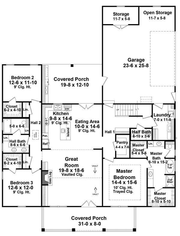 Farmhouse Style House Plan - 3 Beds 2.5 Baths 2107 Sq/Ft Plan #21-442 Floor Plan - Main Floor Plan