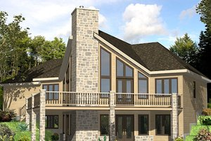 Cabin Exterior - Front Elevation Plan #138-349