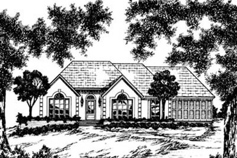 European Style House Plan - 4 Beds 2 Baths 1725 Sq/Ft Plan #36-152 Exterior - Front Elevation