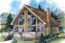 House Blueprint - Cabin Exterior - Front Elevation Plan #18-4501