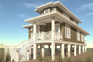 Beach Exterior - Front Elevation Plan #64-238