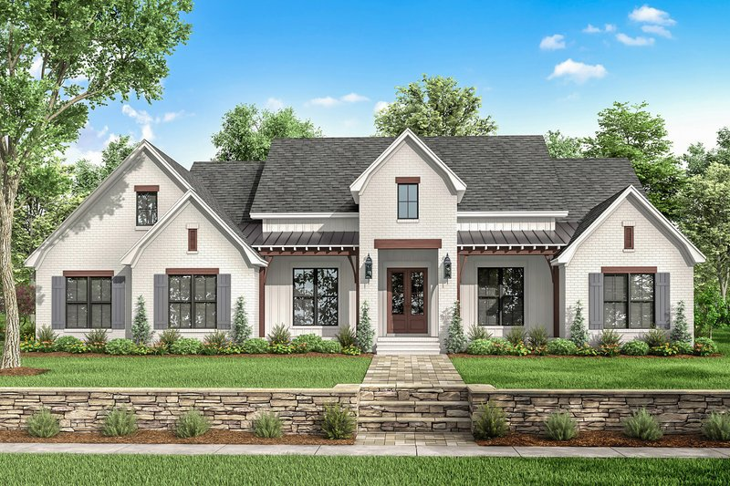 Farmhouse Style House Plan - 4 Beds 3.5 Baths 2751 Sq/Ft Plan #430-199 Exterior - Front Elevation