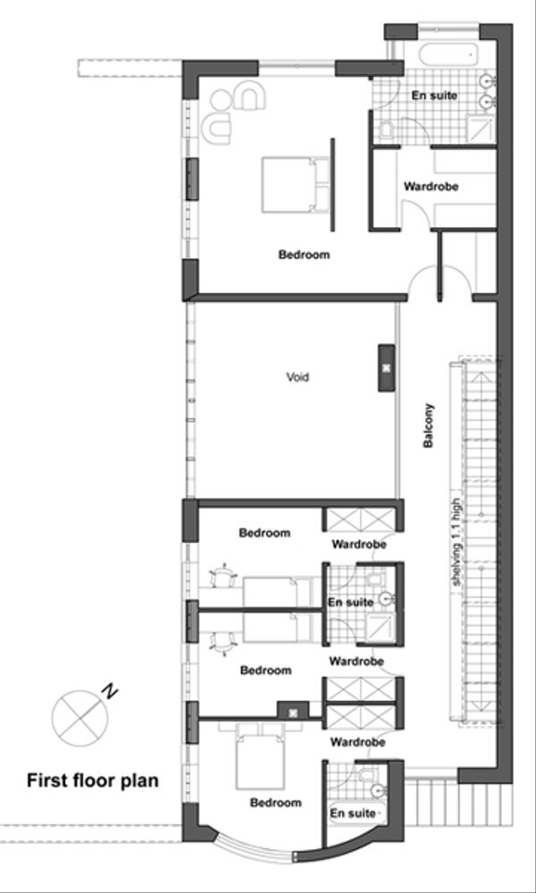 Contemporary Floor Plan - Upper Floor Plan Plan #520-3