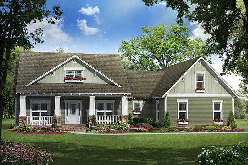 Craftsman Style House Plan - 3 Beds 2.5 Baths 1900 Sq/Ft Plan #21-289 Exterior - Front Elevation