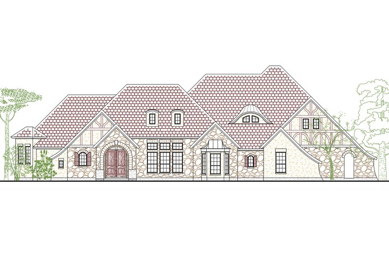 European Style House Plan - 4 Beds 3 Baths 3336 Sq/Ft Plan #80-194 Exterior - Front Elevation