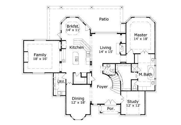 European Floor Plan - Main Floor Plan Plan #411-562