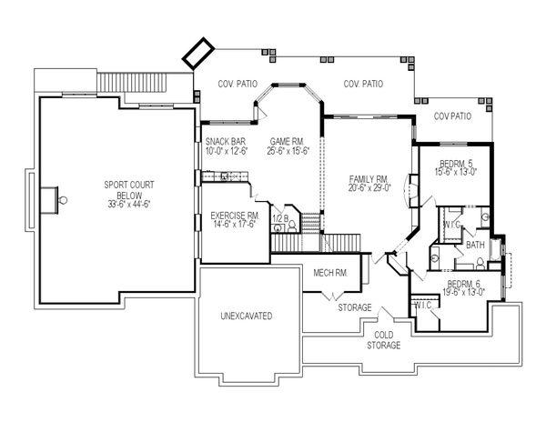 Architectural House Design - Craftsman Floor Plan - Lower Floor Plan #920-59