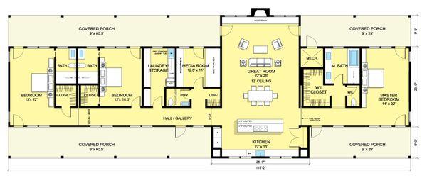 Ranch Floor Plan - Main Floor Plan #888-8