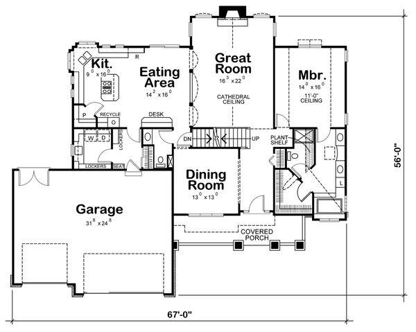 Craftsman Floor Plan - Main Floor Plan #20-1660