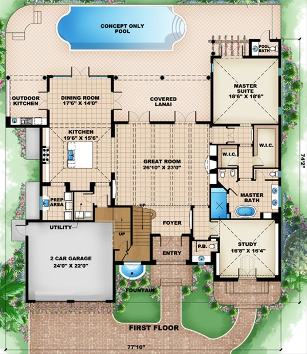 European Floor Plan - Main Floor Plan Plan #27-449
