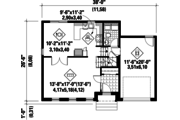 Colonial Style House Plan - 3 Beds 1 Baths 1363 Sq/Ft Plan #25-4871 Floor Plan - Main Floor Plan