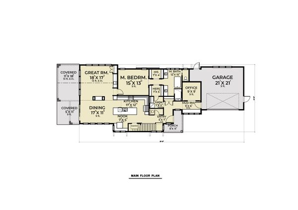 Farmhouse Floor Plan - Main Floor Plan Plan #1070-106