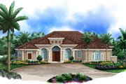 Mediterranean Style House Plan - 4 Beds 5 Baths 3985 Sq/Ft Plan #27-420 Exterior - Front Elevation