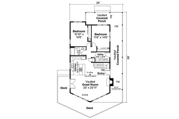 House Design - Cottage Floor Plan - Main Floor Plan #124-1130