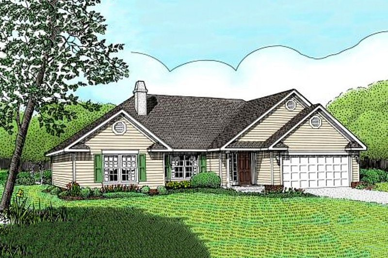 Traditional Style House Plan - 3 Beds 2 Baths 1433 Sq/Ft Plan #11-102 Exterior - Front Elevation