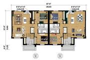 Contemporary Style House Plan - 4 Beds 2 Baths 1944 Sq/Ft Plan #25-4398 Floor Plan - Main Floor Plan