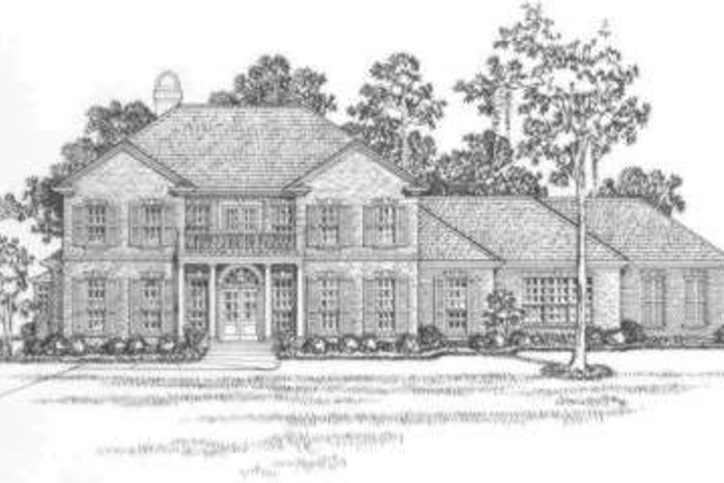 Southern Style House Plan - 6 Beds 4.5 Baths 4450 Sq/Ft Plan #325-260 Exterior - Front Elevation