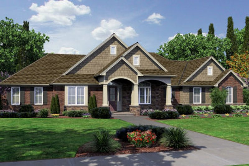 Craftsman Style House Plan - 3 Beds 2 Baths 2246 Sq/Ft Plan #46-461 Exterior - Front Elevation