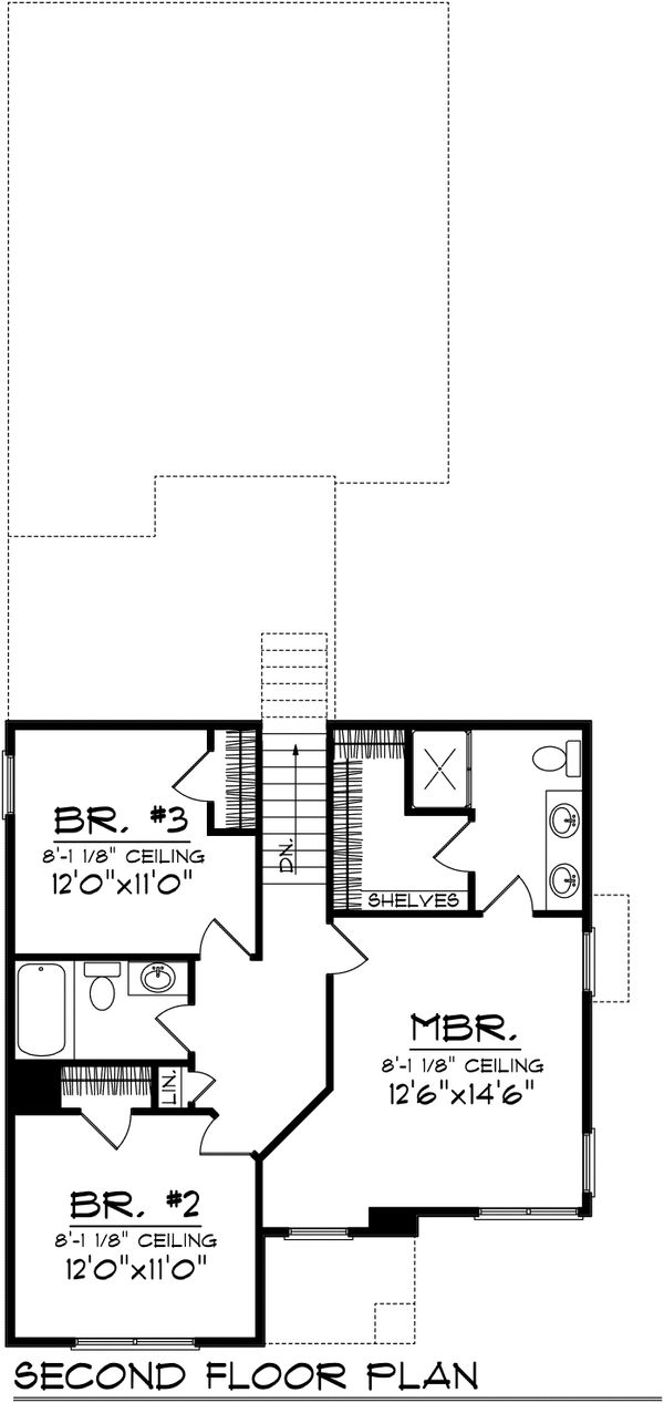 Traditional Floor Plan - Upper Floor Plan Plan #70-1029