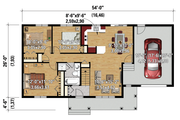 Country Style House Plan - 3 Beds 1 Baths 992 Sq/Ft Plan #25-4461 Floor Plan - Main Floor