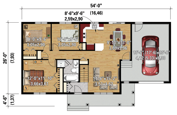 Country Floor Plan - Main Floor Plan Plan #25-4461