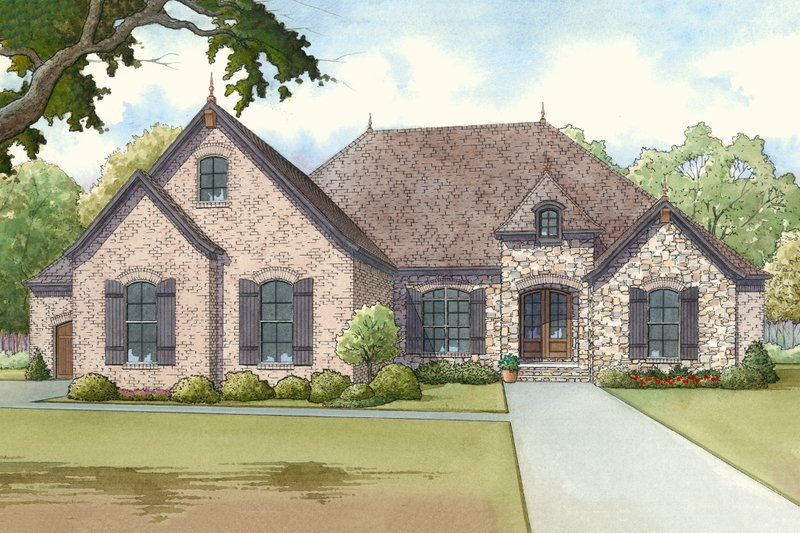 European Exterior - Front Elevation Plan #923-14