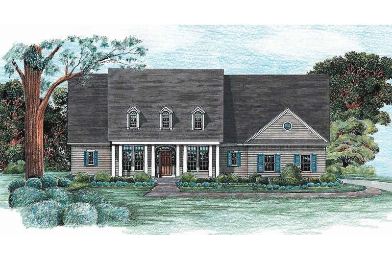 Architectural House Design - Country Exterior - Front Elevation Plan #20-128