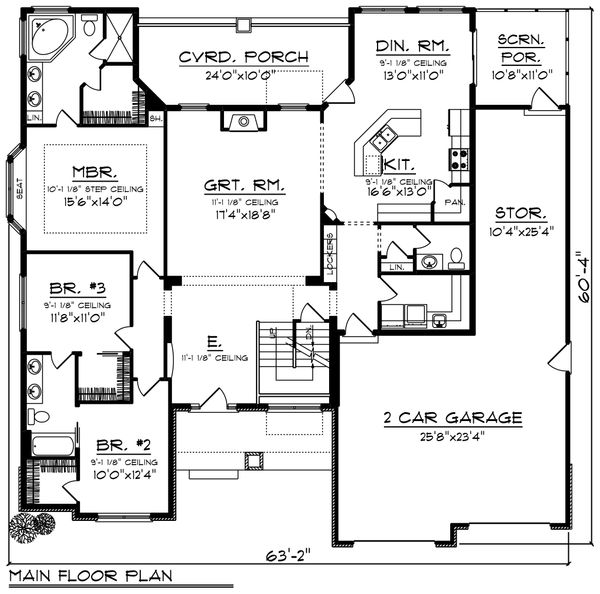 Ranch Floor Plan - Main Floor Plan Plan #70-1421