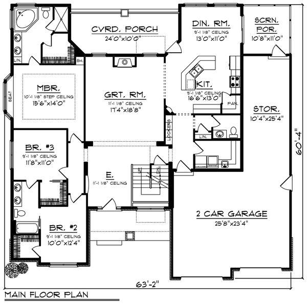 House Plan Design - Ranch Floor Plan - Main Floor Plan #70-1421