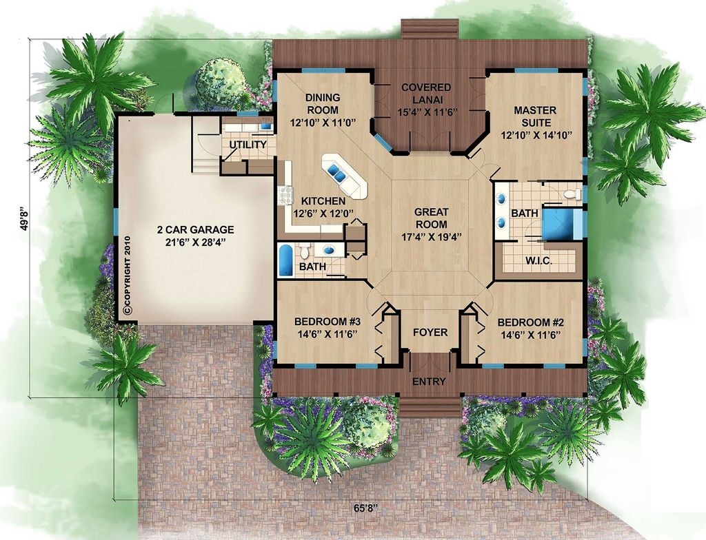 Beach Style House Plan - 3 Beds 2 Baths