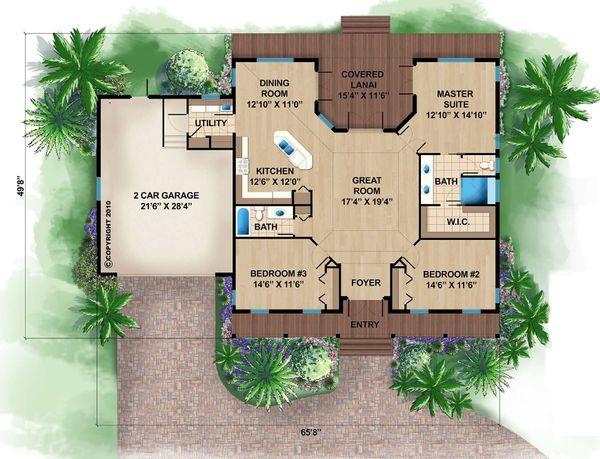 Beach Floor Plan - Main Floor Plan Plan #27-481