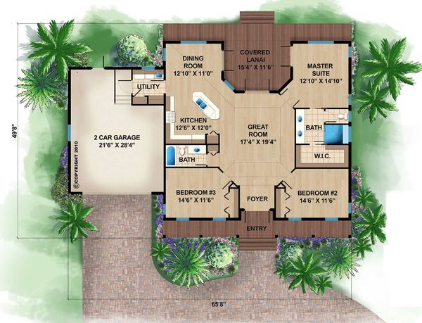 Beach Floor Plan - Main Floor Plan #27-481