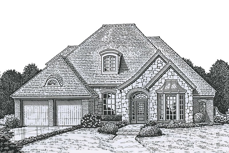 European Style House Plan - 4 Beds 3.5 Baths 2567 Sq/Ft Plan #310-723 Exterior - Front Elevation