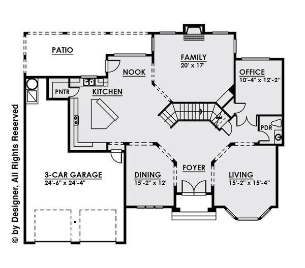 Contemporary Floor Plan - Main Floor Plan Plan #1066-16