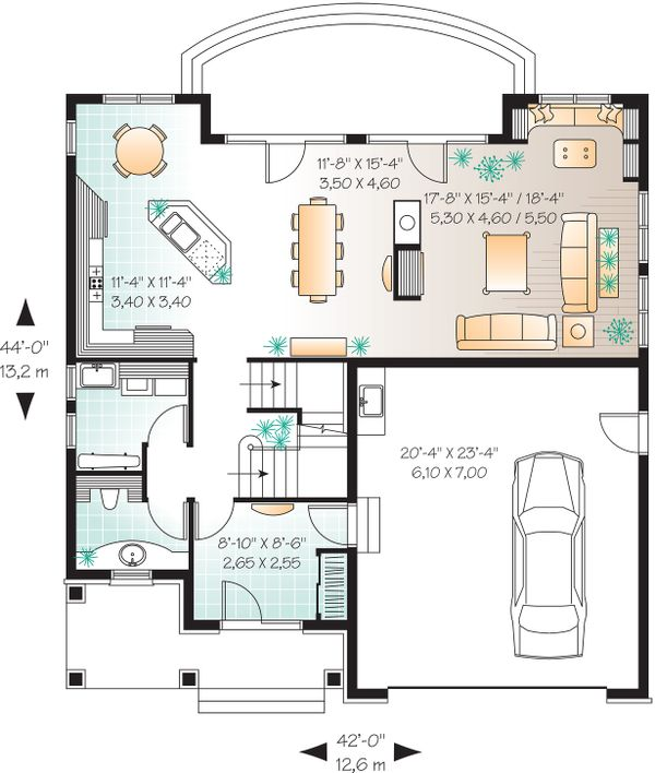 Main Floor Plan - 2600 square foot European home