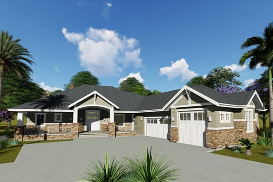 Craftsman Exterior - Front Elevation Plan #1069-1