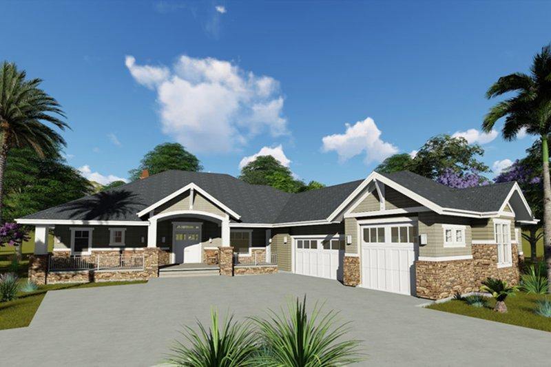 Architectural House Design - Craftsman Exterior - Front Elevation Plan #1069-1
