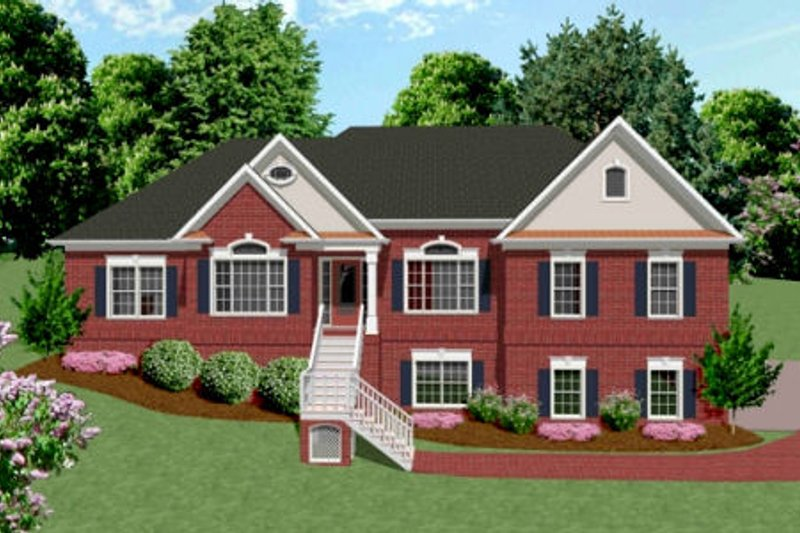 Southern Exterior - Front Elevation Plan #56-169