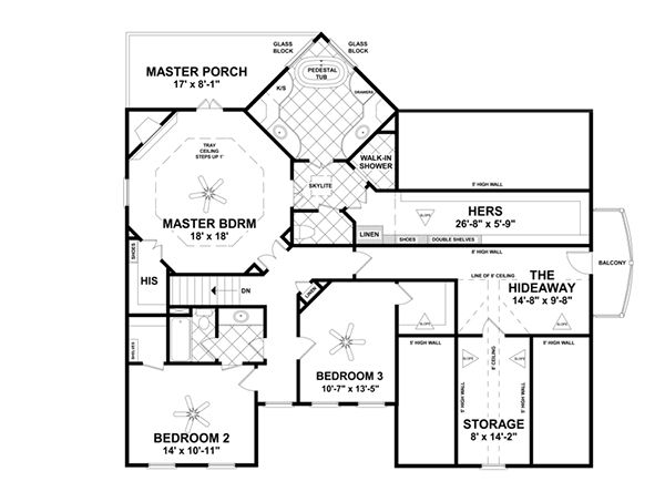 Craftsman Floor Plan - Upper Floor Plan Plan #56-707