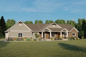 Architectural House Design - Craftsman Exterior - Front Elevation Plan #1064-48