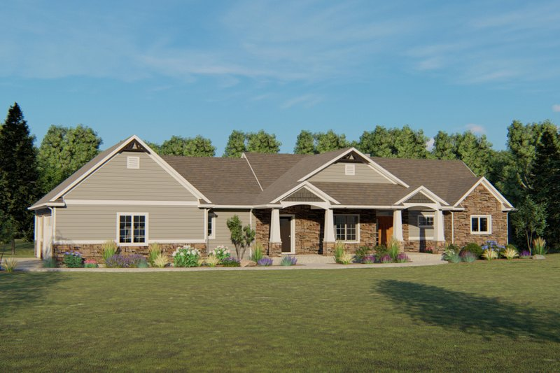 Craftsman Style House Plan - 2 Beds 2 Baths 1993 Sq/Ft Plan #1064-48 Exterior - Front Elevation