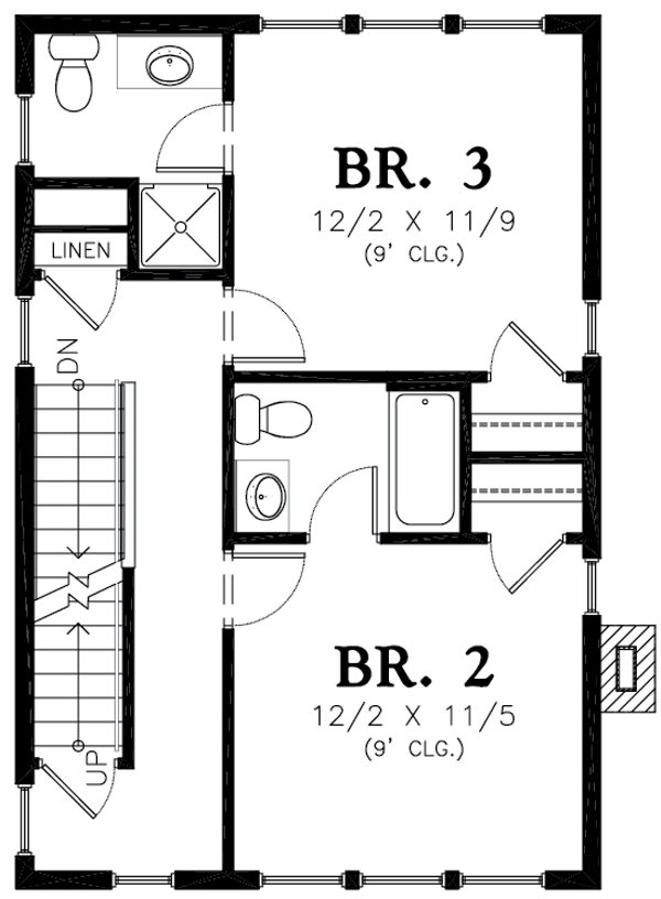 Colonial Floor Plan - Upper Floor Plan Plan #48-1011